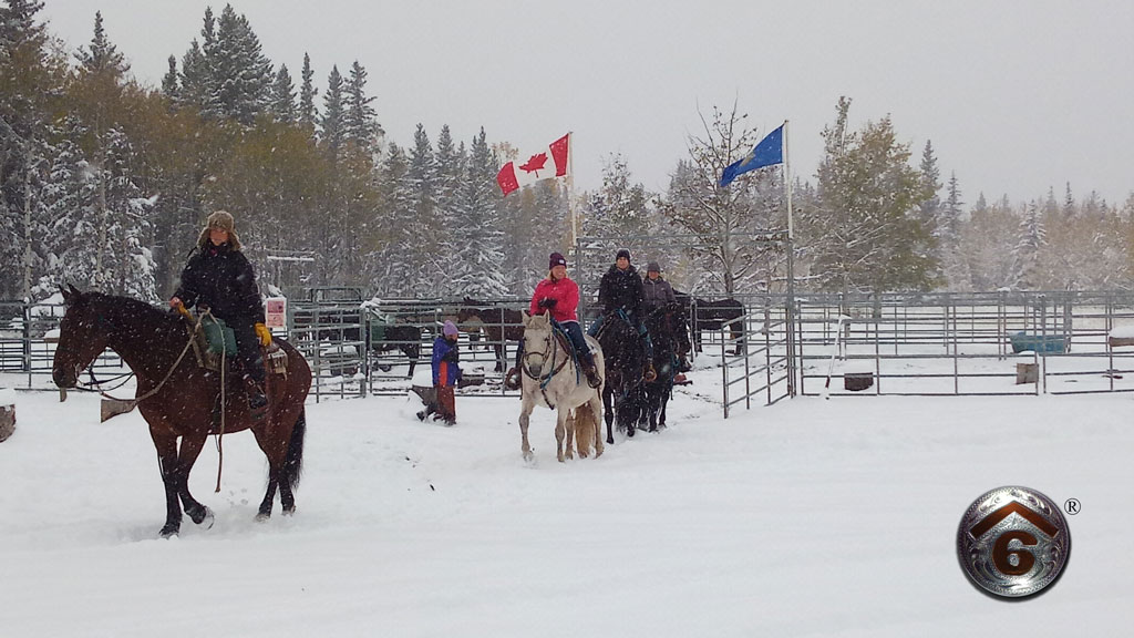 Another Spectacular Autumn Snow Horseback Ride At Cowley's Rafter Six Ranch!