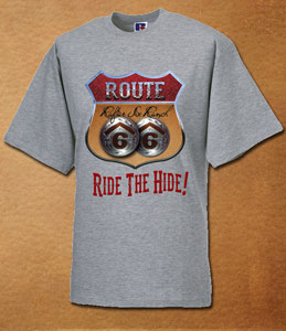 Rafter Six® Route 66 Ride The Hide T-Shirt Grey