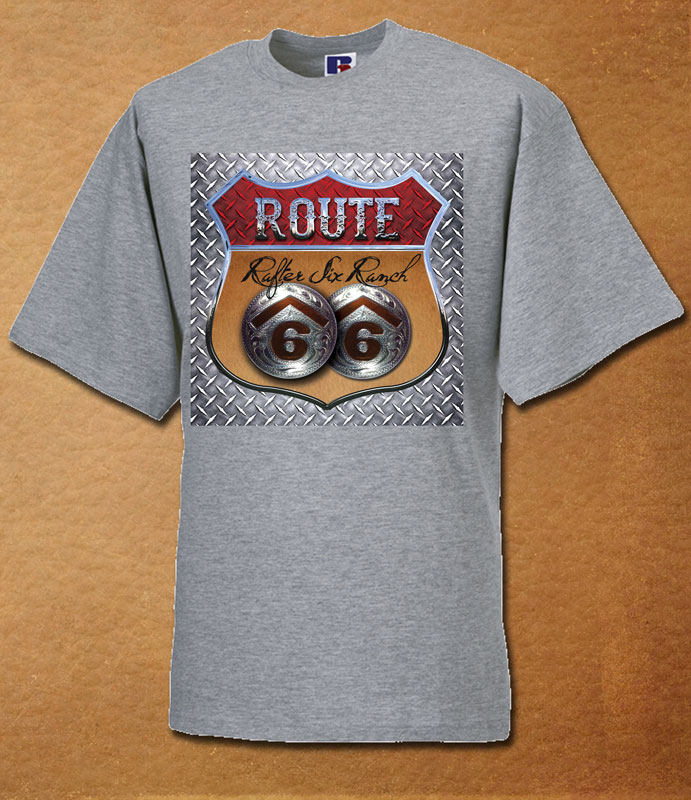 Rafter Six® Route 66 Steelplate T-Shirt Grey