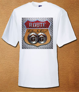 Rafter Six® Route 66 Steelplate T-Shirt White